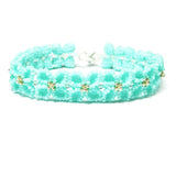 Heart in Hawaii Quatrefoil Hydrangea Flower Beaded Bracelet - Mint and Silver