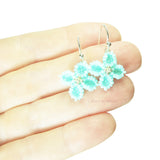 Heart in Hawaii Hydrangea Earrings - Tiny Beaded Flower Dangles in Mint