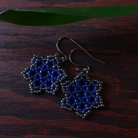 Temple Tree Hexagon Mandala Earrings - Navy and Hematite - Tiny