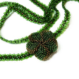 "Heart in Hawaii Extra Long 40"" Beaded Necklace - Dark Green and Bronze"