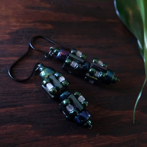Circuit Breakers - Ancient Fuse Box Earrings by Temple Tree - NeoChrome