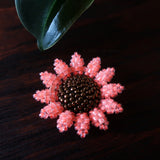 Heart in Hawaii Mini Beaded Sunflower Brooch - Neon Coral