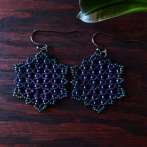 Temple Tree Hexagon Mandala Earrings - Night Lights - Medium