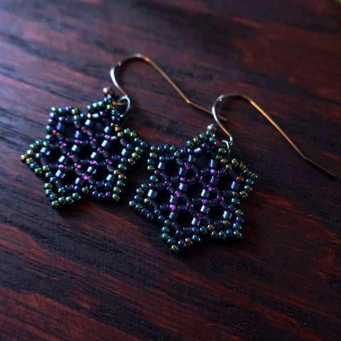 Temple Tree Hexagon Mandala Earrings - Night Lights - Tiny