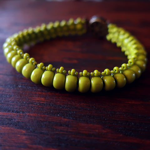 Temple Tree Boho Glass Bead Caterpillar Weave Bracelet - Opaque Olive