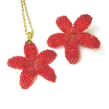 Heart in Hawaii Plumeria Set - Pendant with Chain and Brooch
