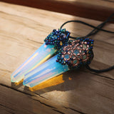 Temple Tree Beaded Mandala Crystal Pendant - Opalite with Galaxy Blue