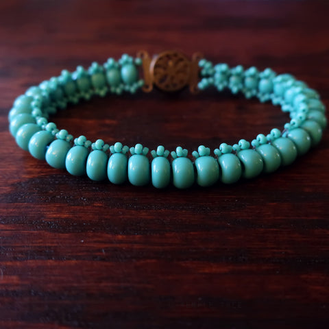Temple Tree Boho Glass Bead Caterpillar Weave Bracelet - Opaque Aqua