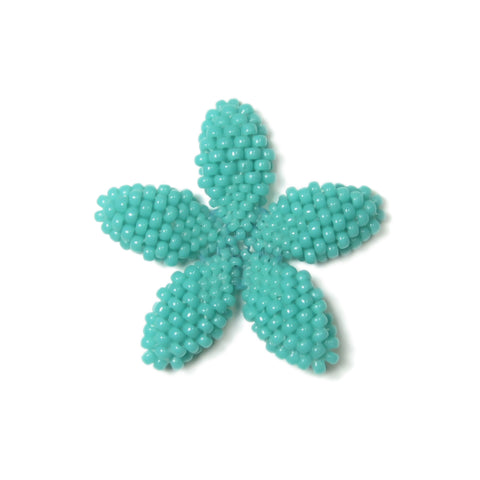 Heart in Hawaii Beaded Plumeria Flower -  Turquoise Blue - 3 sizes