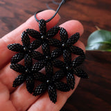 Temple Tree Flower of Life Beaded Pendant - Opaque Black