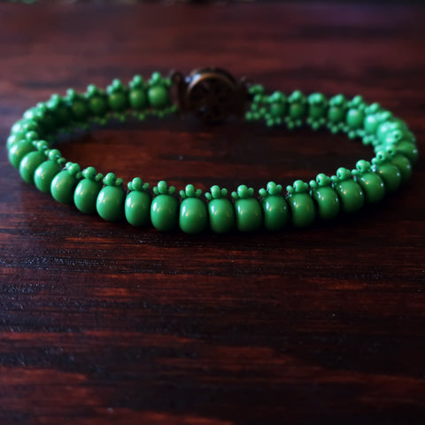 Temple Tree Boho Glass Bead Caterpillar Weave Bracelet - Opaque Green