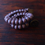 Temple Tree Boho Glass Bead Caterpillar Weave Bracelet - Opaque Mauve