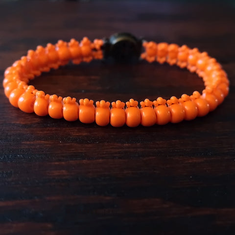 Temple Tree Boho Glass Bead Caterpillar Weave Bracelet - Opaque Orange