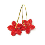 Heart in Hawaii Tiny Plumeria Flower Hoops - Opaque Red