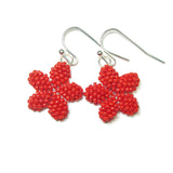 Heart in Hawaii Tiny Plumeria Flower Dangles - Opaque Red