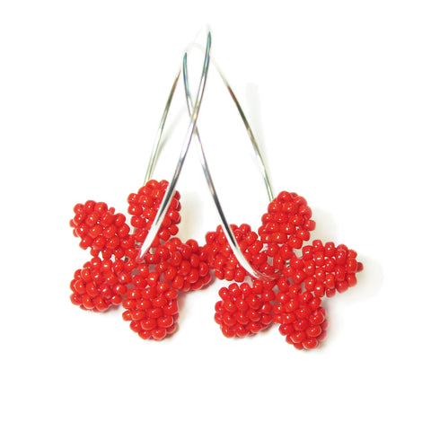 Heart in Hawaii Pua Kawaii - Tiny Plumeria Flower Hoops - Opaque Red