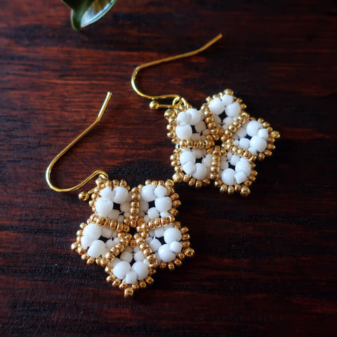 Temple Tree Mandala Flower Beaded Earrings - White and Gold