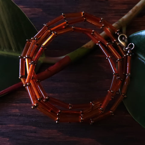 Temple Tree Bamboo Weave Thin Beaded Mask Lanyard - Orange and Bronze