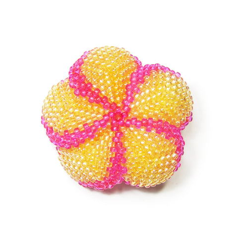 Heart in Hawaii Beaded Plumeria Clip-on Brooch - 3 sizes available - Tropical Orange and Fuchsia