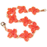 Heart in Hawaii Quatrefoil Ixora Flower Beaded Bracelet - Orange with Copper