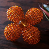 Heart in Hawaii Makalapua Quatrefoil Beaded Flower Brooch - Orange