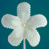 Heart in Hawaii Beaded Plumeria Flower - Pale Ivory Pearl