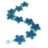 Heart in Hawaii Beaded Plumeria Flower Bracelet - Peacock Blue