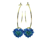 Heart in Hawaii Tiny Beaded Heart Hoop Earrings - Peacock