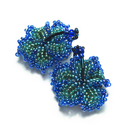 Heart in Hawaii Beaded Hibiscus Clips - set of 2 - Peacock