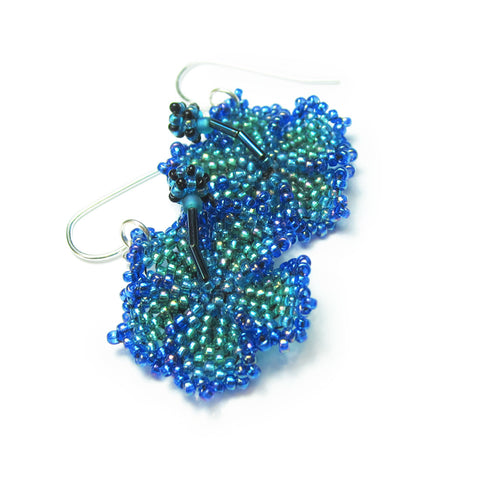 Heart in Hawaii Beaded Hibiscus Earrings - Peacock