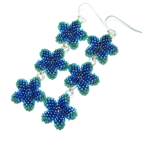 Heart in Hawaii Triple Plumeria Long Dangle Earrings - Peacock Blue
