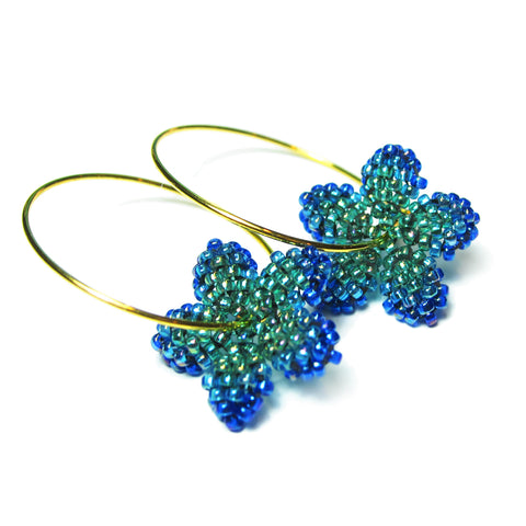 Heart in Hawaii Pua Kawaii Tiny Beaded Flower Hoops - Peacock Green