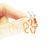 Heart in Hawaii Pua Iki Tiny Beaded Flower Earrings - Pearly White with Orange