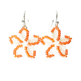 Heart in Hawaii Beaded Flower Earrings - Pearly White with Orange