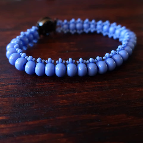 Temple Tree Boho Glass Bead Caterpillar Weave Bracelet - Opaque Periwinkle
