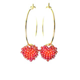 Heart in Hawaii Tiny Beaded Heart Hoop Earrings - Phoenix