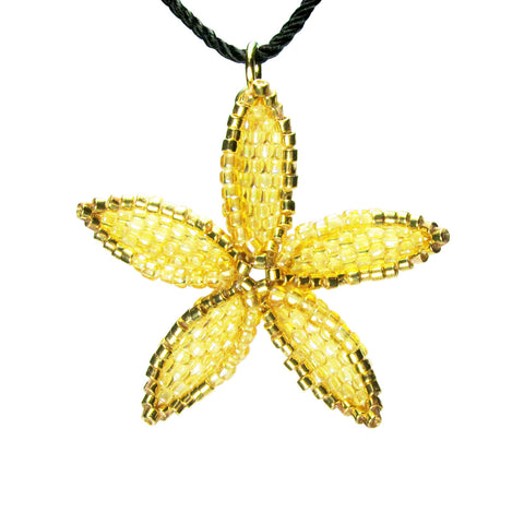 Heart in Hawaii Beaded Pua Pendant with Gold - Pineapple