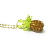 Heart in Hawaii Tiny Beaded Pineapple Pendant with Cable Chain - Gold Color
