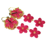 Heart in Hawaii Hibiscus and Plumeria Long Dangle Earrings - Hot Pink and Gold