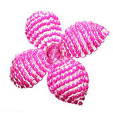 Heart in Hawaii Makalapua Quatrefoil Beaded Flower Brooch - Pink