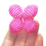 Makalapua 4 Petaled Beaded Flower Brooch - Pink