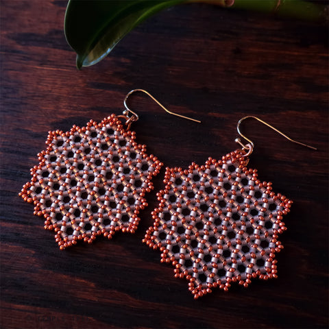 Temple Tree Hexagon Mandala Earrings - Pink Satin with Copper - Large