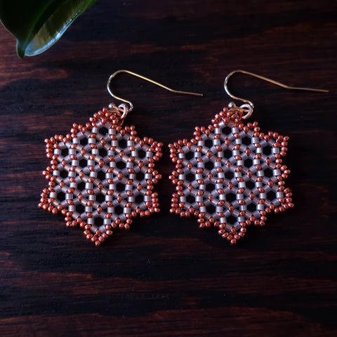 Temple Tree Hexagon Mandala Earrings - Pink Satin with Copper - Medium