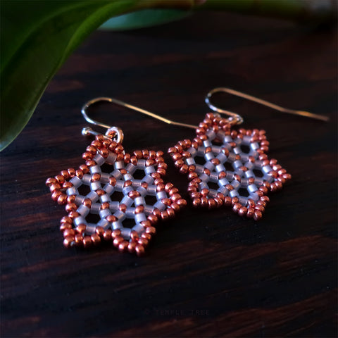 Temple Tree Hexagon Mandala Earrings - Pink Satin with Copper - Tiny