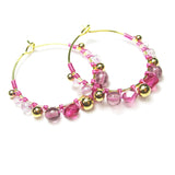 Heart in Hawaii Wire Wrapped Hoops - Pink and Gold