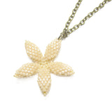 Heart in Hawaii Tiny 1-inch Pua Plumeria Pendant with Chain - Beige