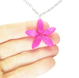 Heart in Hawaii Tiny 1-inch Pua Plumeria Pendant with Chain - Fuchsia