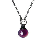 "Crescent Moon Kahiko Pendant - Purple Chalcedony with 32"" Cable Chain"