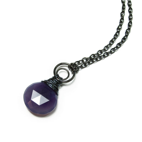 "Heart in Hawaii Crescent Moon Kahiko Pendant - Purple Chalcedony with 32"" Cable Chain"