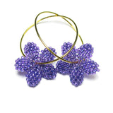 Heart in Hawaii Tiny Plumeria Hoop Earrings - Indigo Purple